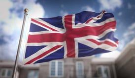 United Kingdom Flag 3D Rendering on Blue Sky Building Background. Digital Art Royalty Free Stock Photography