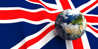 United Kingdom Flag & the Earth. United Kingdom flag background, Earth in foreground showing country of England through cloud cover Stock Image