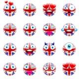 United Kingdom Flag Emojis. Patriotic Emoji Set. Union Jack Flag Emoticons. Smile icon. Isolated Vector Illustration on White Background Royalty Free Stock Images