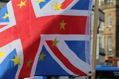 Union Jack with European Union Flag Stars in Edinburgh stock image
