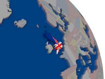 United Kingdom with flag on globe Royalty Free Stock Photography