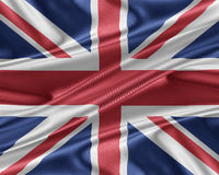 United Kingdom flag with a glossy silk texture. Royalty Free Stock Photo