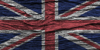 United Kingdom flag with high detail of old wooden background . Stock Photos