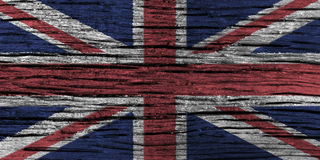 United Kingdom flag with high detail of old wooden background . Royalty Free Stock Image