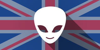 United Kingdom flag icon with an alien face. Illustration of an UK flag icon with an alien face royalty free illustration