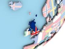 United Kingdom with flag. Illustration of United Kingdom on political globe with embedded flag. 3D illustration stock illustration