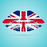 United Kingdom Flag Lipstick On The Lips Isolated On A White Background. Vector Illustration. Royalty Free Stock Photo