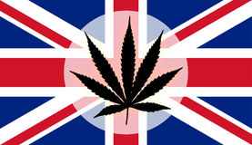United Kingdom flag with marijuana leaf Royalty Free Stock Photography