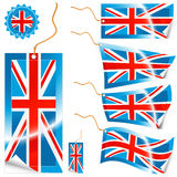 United Kingdom flag modern tags and sticker. Vector illustrations of detailed United Kingdom flag tags (retail or info) in different shapes (simple, waves Stock Images