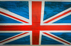 United Kingdom flag painted on aged wooden wall . Stock Photo