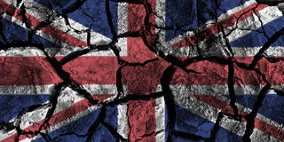 United kingdom flag painting on high detail cracked ground . Stock Image