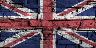 United kingdom flag painting on high detail of old brick wall . Stock Photo