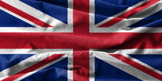 United Kingdom flag painting on high detail of wave cotton fabrics . 3D illustration Royalty Free Stock Photo