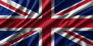 United Kingdom flag painting on high detail of wave cotton fabrics . 3D illustration Stock Photo