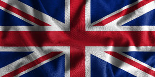 United Kingdom flag painting on high detail of wave cotton fabrics . 3D illustration Stock Photography
