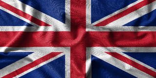 United Kingdom flag painting on high detail of wave cotton fabrics . Royalty Free Stock Photos