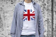United Kingdom flag print on T-shirt. Stock Photo