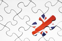 United kingdom flag puzzle piece. On white background royalty free stock photos