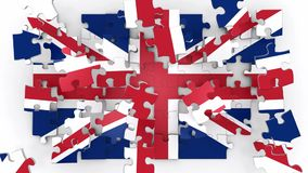 United Kingdom flag puzzle. Pieces falling down and assembling the flag stock footage