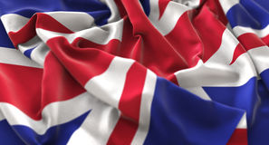 United Kingdom Flag Ruffled Beautifully Waving Macro Close-Up Sh. Ot Studio Royalty Free Stock Photo