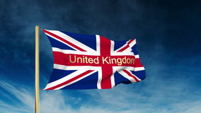 United Kingdom flag slider style with title United. Kingdom. Waving in the win with cloud background animation stock video
