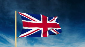 United Kingdom flag slider style. Waving in the. Win with cloud background animation stock video