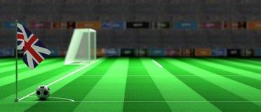 UK flag on a soccer field. 3d illustration. United Kingdom flag on a soccer football field. 3d illustration Stock Photography