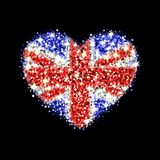 United Kingdom flag sparkling heart badge. United Kingdom of Great Britain and Northern Ireland flag sparkling badge in heart shape. Icon with British national Royalty Free Stock Photos