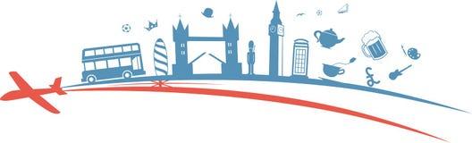 United Kingdom flag symbol element. With aeroplane vector illustration
