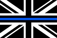 United Kingdom flag a with thin blue line. A sign to honor and respect british police, army and military officers royalty free illustration