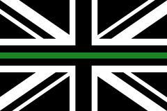 United Kingdom flag with a thin green line. A sign to honor and respect british border patrol, park rangers and federal agents royalty free illustration