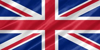 United Kingdom Flag. With waving on satin texture vector illustration