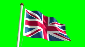 United Kingdom. Flag video (seamless & green screen stock footage