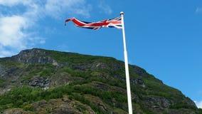 United kingdom flag waving. Against sky stock footage