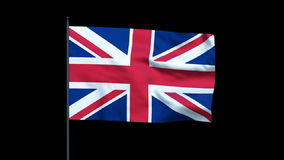 United Kingdom Flag Waving, Seamless Loop, Alpha, stock footage stock footage