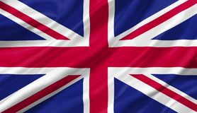 United Kingdom flag waving with the wind, 3D illustration. 3D rendering Royalty Free Stock Images