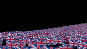 United Kingdom Flags animation. United Kingdom Flags and Camera Fly Over, DOF stock footage