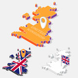 United Kingdom flags on map element with 3D isometric shape isolated on background Stock Photos