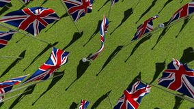 United Kingdom flags waving in the wind in green field. Background. View from above. Three dimensional rendering animation stock video