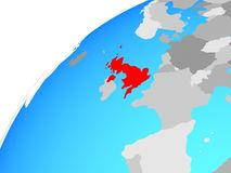 United Kingdom on globe. 3D illustration vector illustration