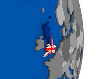 United Kingdom on globe with flag Royalty Free Stock Image