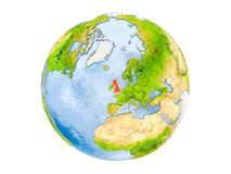 United Kingdom on globe isolated. United Kingdom highlighted in red on model of Earth. 3D illustration isolated on white background. Elements of this image Royalty Free Stock Photography