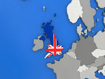 United Kingdom on globe Royalty Free Stock Photography