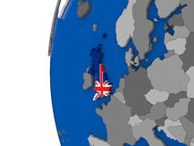 United Kingdom on globe Stock Image