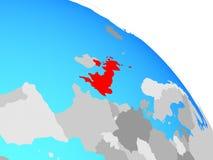 United Kingdom on globe. United Kingdom on simple blue political globe. 3D illustration stock illustration