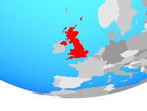 United Kingdom on globe. United Kingdom on simple political globe. 3D illustration royalty free illustration