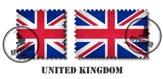 United kingdom of great britain flag pattern postage stamp with grunge old scratch texture and seal on isolated background . Black vector illustration