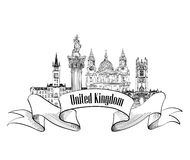 United Kingdom of Great Britain label. Famous english places Royalty Free Stock Photos