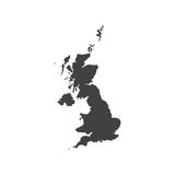 United Kingdom of Great Britain map silhouette illustration. On the white background. Vector illustration Royalty Free Stock Photography