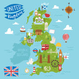 United kingdom great britain map travel city tourism transportation on blue ocean europe cartography and national. Landmark england famous flag vector Royalty Free Stock Images